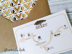Invitaciones de boda Safari. Tarjeta con foto y estampado étnico. Invitación con mapa.
