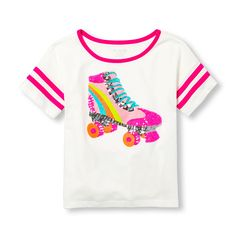 Girls Short Sleeve Sequin Graphic Football Top - Pink - The Children's Place Oakley, Skate Shirts, Football Tops, Skate Party, Big Fashion, Graphic Tee Shirts, Active Wear For Women, Short Girls, Shirts For Girls