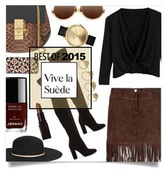 """BEST OF 2015: Suede and Fringe"" by sonny-m ❤ liked on Polyvore featuring moda, George J. Love, Gianvito Rossi, Chloé, Gucci, Chanel, Laura Mercier, Nixon, ALDO y X-Ray"