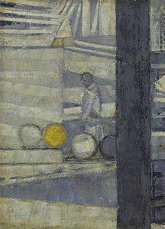 Prunella Clough, Barrels in a Yard
