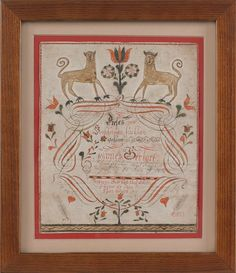 School of Johann Adam Eyer (Deep Run School, Rockhill Township, Bucks County, Pennsylvania), watercolor and ink on paper fraktur drawing, inscribed Johannes Gerhart 1802, with central script surmounted by two lions and surrounded by tulip vines, 7 3/4'' x 6 1/2''. Exhibition: Mennonite Historical Society, 2004-2005.