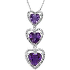 Lab-Created Amethyst Diamond-Accent Sterling Silver Pendant Necklace (305 BRL) ❤ liked on Polyvore featuring jewelry, necklaces, pendants & necklaces, amethyst necklace, long pendant necklace, heart pendant necklace and amethyst pendant necklace