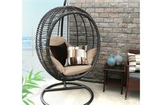 Baner Garden X19 Oval Egg Hanging Patio Lounge Chair Chaise Porch Swing Hammock Single Seat Stand Wicker with Cushion, Full, Black