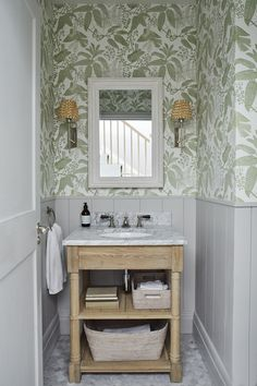 Sims Hilditch Parsons Green Townhouse bathroom with half wall paneling and . Bathroom Interior, Bathroom Storage, Home Interior, Modern Bathroom, Bathroom Green, Small Bathroom With Wallpaper, Dyi Bathroom, Wall Paper Bathroom, Small Bathrooms