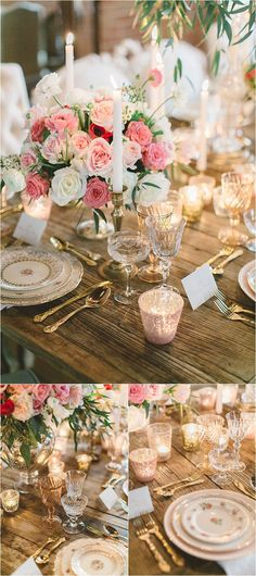 Romantic pink and white centerpiece with candles | See more: http://www.thesoutherncaliforniabride.com/2015/02/elegant-and-romantic-pink-wedding-inspiration.html