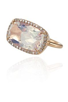 Irene Neuwirth One-Of-A-Kind Water Opal and Diamond Ring / 18k Rose Gold