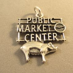 Sterling Silver PIKE PLACE Seattle Public Market Center Sign Charm Pendant…