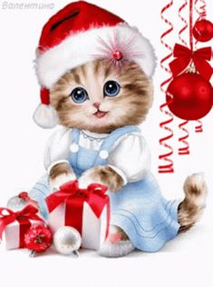 The perfect Cute Cat Gifs Animated GIF for your conversation. Merry Christmas Gif, Christmas Scenes, Christmas Animals, Christmas Cats, Christmas Wishes, Christmas Pictures, Vintage Christmas, Christmas Wrapping, Christmas Things