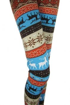 Winter Christmas Reindeer & Snow Print Multicolor Thick Leggings