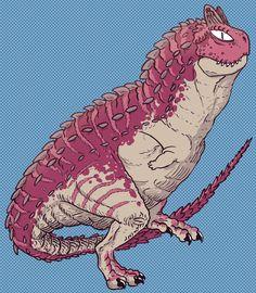 "A carnotaurus from the comics series ""kids with guns"" by Capitan Artiglio.  # kidswithguns #CapitanArtiglio"