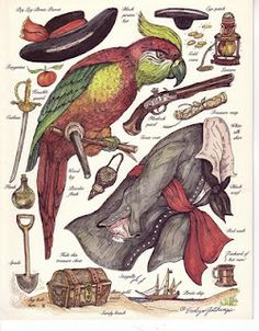 Awesome: pirate parrot paper doll, with all the accessories. For my two favorite Pirates; T & Big D. Paper Puppets, Paper Toys, Pirate Parrot, Paper People, Paper Animals, Vintage Paper Dolls, Paper Models, Illustrations, Doll Toys