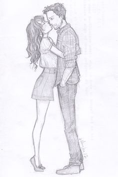 Cute drawing of a couple