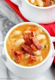 Creamy white bean and bacon soup will warm you right up!!