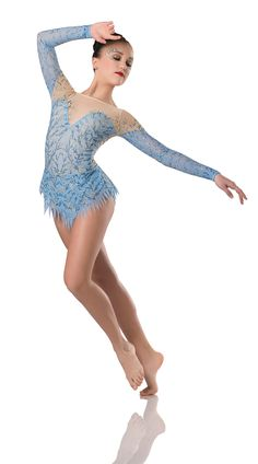 Leotard With Attached Skirt: Nude stretch mesh, sky blue spandex, and sky blue stretch mesh ; Trim: Light blue and dior blue print, gold glitter print, and aurora borealis rhinestones ; Dance Costumes Lyrical, Ballet Costumes, Dance Leotards, Modern Contemporary Dance, Contemporary Dance Costumes, Art Stone Costumes, Dance Tights, Ballet Tutu, Skating Dresses