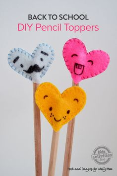 Back To School: Felt Heart Pencil Toppers | A little bit of goofy love to send off with your little ones for their return to school!! Character rich DIY felt heart pencil toppers with marker drawn faces will bring a little joy to their day and make writing even more fun.  All you need the felt pencil toppers is some scraps of felt, some embroidery thread and a needle and a thin black permanent marker.