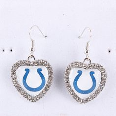 2Pairs/lot Indianapolis Colts Football Team Heart Crystal Earrings NFL Sport Charm Dangling Earrings For Women Fashion Jewelry