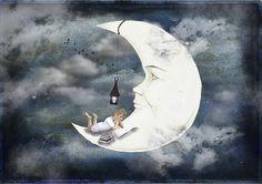Gratis billede på Pixabay - Moon, Dreng, Bøger, Skyer, Himmel