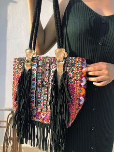 Beautiful boho banjara embroidered handcrafted bag perfect for office or shopping day out! Accessorise it up with a white shirt and blue jeans. Hippie Purse, Hippie Bags, Boho Bags, White Shirt And Blue Jeans, Fringe Bags, Embroidered Bag, Leather Flowers, Shopping Day, Mirrors