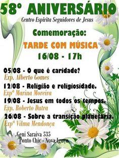 Centro Espírita Seguidores de Jesus Convida para o seu 58o.Aniversário - Nova Iguaçu - RJ - http://www.agendaespiritabrasil.com.br/2015/08/16/centro-espirita-seguidores-de-jesus-convida-para-o-seu-58o-aniversario-nova-iguacu-rj/