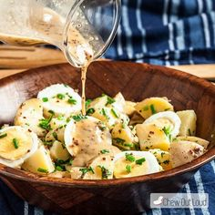 This Potato Salad with Honey Mustard Vinaigrette is healthy, tangy, zippy, and delish! So easy and perfect for any picnic or potluck.