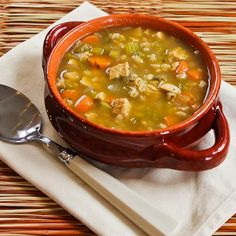 Chicken Barley Soup Recipe from Kalyn's Kitchen  #LowGlycemicRecipe