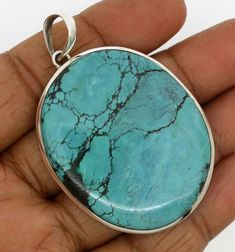 pendants natural turquoise gemstons solid 925 sterling silver jewelry 27.9 g #Unbranded