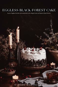 No Bake Chocolate Cake, Chocolate Cherry, Vegan Chocolate, Non Dairy Whipping Cream, Stable Whipped Cream, 9 Inch Cake Pan, Cold Cake, Tall Cakes, Chocolate Shavings