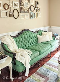 Makeover Monday: Antibes Green Painted Sofa (with a bit of Aubusson) - Shades of Blue Interiors - Annie Sloan Chalk Paint makeover Painted Sofa, Vintage Couch, Paint Upholstery, Furniture, Furniture Inspiration, Interior, Home Decor, Home Decor Furniture, Blue Interior