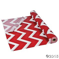 Red Chevron Tablecloth Roll