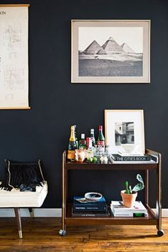 black wall + bar cart