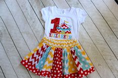 circus rainbow birthday outfit for toddler girls - personalized circus tent shirt with number and matching skirt for baby girl by LightningBugsLane on Etsy https://www.etsy.com/listing/480893043/circus-rainbow-birthday-outfit-for