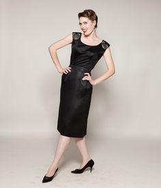 Vintage 1950s Kramer Dress Black Satin LBD Beaded Holiday Fashions. $175.00, via Etsy.