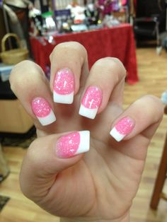 Facts, Fiction And Acrylic French Tip Nails With Glitter Sparkle 21 - French Nails - Get Nails, Love Nails, Pink Nails, Pretty Nails, White Nails, Sparkle Nails, Fancy Nails, Glitter Nails, Pink Glitter
