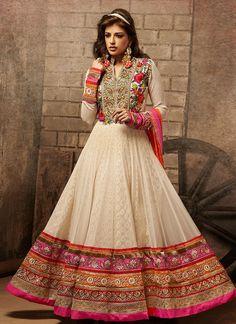 Home » Salwar Kameez » Impressive Cream Net Wedding Anarkali Suit