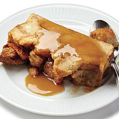 "Bread Pudding with Salted Caramel Sauce from MyRecipes.com (Our Favorite Review: ""What a wonderful bread pudding! I feel like I can eat it without guilt, too, since it is relatively low calorie for a dessert."")"