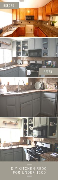 heres how to renovate your kitchen with just 100 and a bottle of wine. Interior Design Ideas. Home Design Ideas