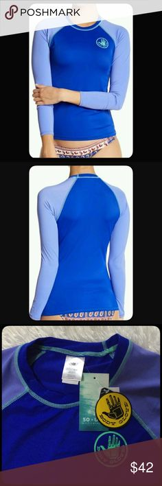"Body Glove Rash Guard NWT Body Glove Rash Guard Top in a pretty blue with a periwinkle contrast. 50+ UPF. Performance fit. Measures approximately 24"" long, armpit to armpit 16"" across. Measurements taken while lying flat and not stretched. Size Medium. Brand New. Body Glove Swim"