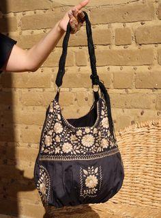 Huipil Bag Summer tote   Travel Tote   Mexican Embroidered Bag with Macramé  Strap   Crossbody bag   Boho bag   Mexican dress bag   Black 3b46cf9ee39cf