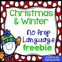 FREE - what to work on in speech therapy this Christmas and winter.