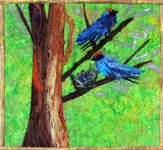 Swallow Family in a Nest Quilt Art Wall Hanging by cindyrquilts