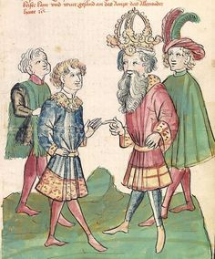 Historia septem sapientum, dt. ; Martinus Oppaviensis: Chronicon pontificum et imperatorum, dt. — Hagenau - Werkstatt Diebold Lauber,  um 1450 Cod. Pal. germ. 149 Folio 102r