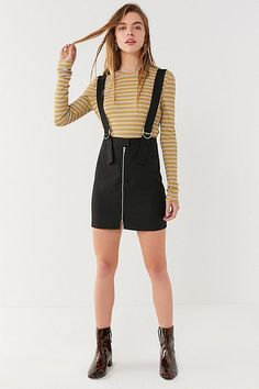 UO Zip-Front Buckle Skirtall Overall