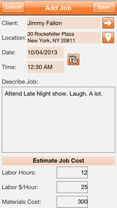 Our #iPhone #App Add Job page.  Quickly add new jobs and estimates.