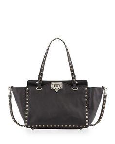 cca064479e244 Valentino Garavani Noir Rockstud Mini Tote Bag