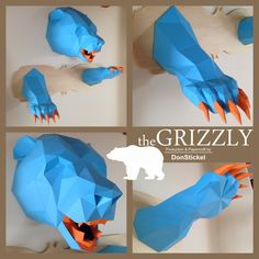 Papercraft model of a grizzly bear trophy full with head and paws on a wooden board in 1:1 scale (729x474x819 mm) Build from bicolor 160 g/m^2 paper.