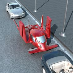 flying car, red car, futuristic vehicle, future vehicle, flying vehicle…