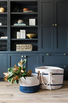 Newport Colorblock Basket, exclusive baskets to McGee & Co. Blue Bookshelves, Built In Bookcase, Room Shelves, Bookcases, Living Room Built Ins, Living Room Storage, Living Room Tv, Home Office Space, Home Office Design