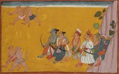 An Illustration to the 'Shangri' Ramayana: Rama, Lakshmana, Sugriva And Vibhishana being led by the monkey army Bahu or Jammu circa 1700-17
