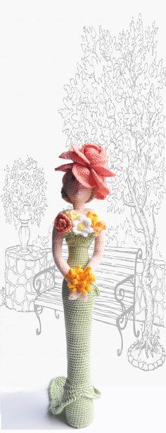Muñeca de trapo arte, muñeca de trapo de ganchillo, muñeca decorativa flor dama, regalo para la niña y mamá, ooak amigurumi muñeca, muñeca de estilo retro