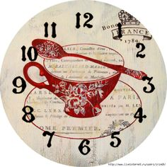 Cup, Saucer and Spoon, Decoupage Printable Clock Face Printable, Tee Kunst, Diy Clock, Teapots And Cups, Teacups, Tea Art, Decoupage Paper, Kitchen Art, Wood Print